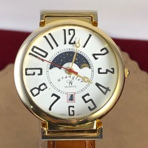 Vintage Wrangler Moon Phase Gold Tone Watch Brown